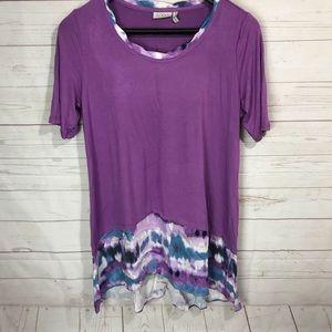 LOGO Lori Goldstein solid purple with tie dye hem